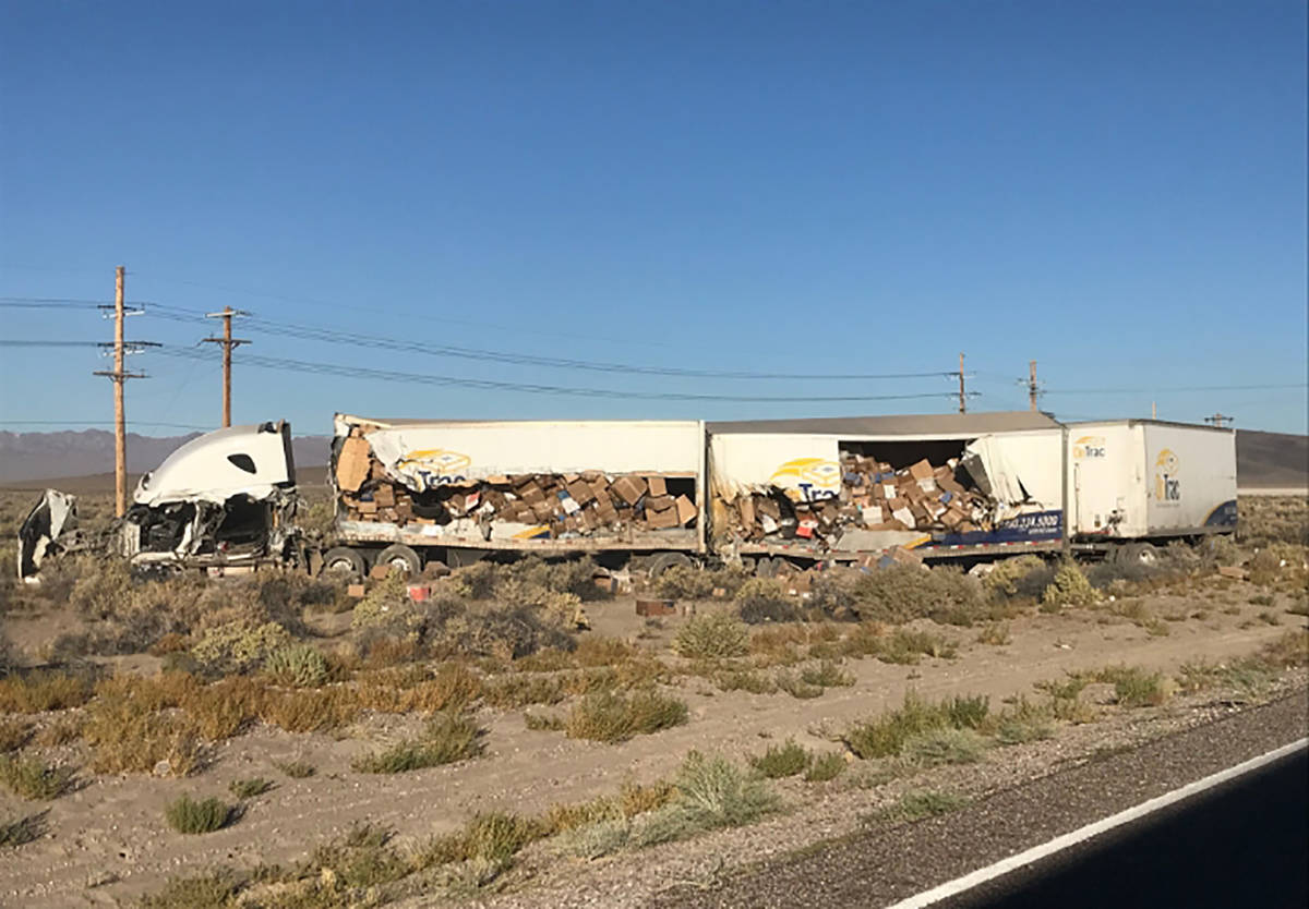 Special to the Pahrump Valley Times Two people were killed after a collision between two semi-t ...