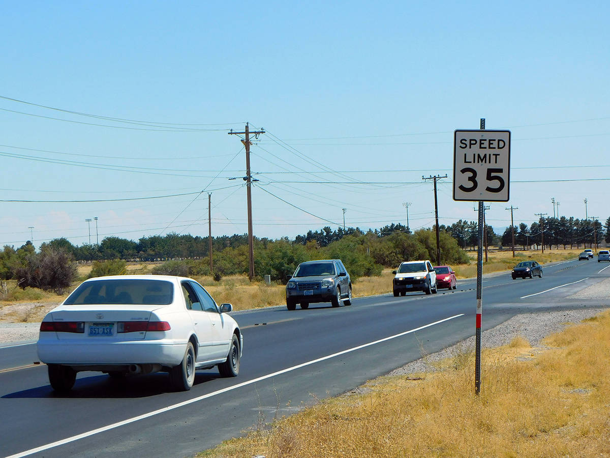 Robin Hebrock/Pahrump Valley Times The speed limit on Pahrump Valley Boulevard has been raised ...