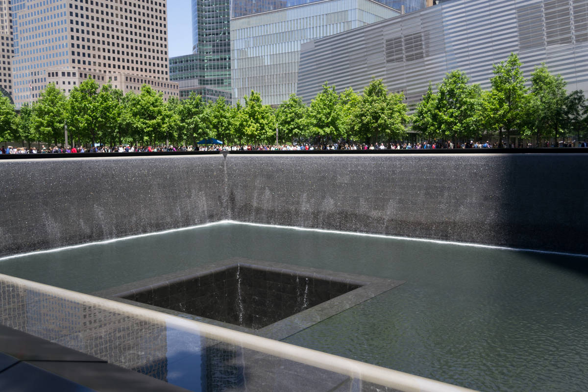 Getty Images Pictured is the 9/11 memorial in New York. The memorial is two fountains in the l ...