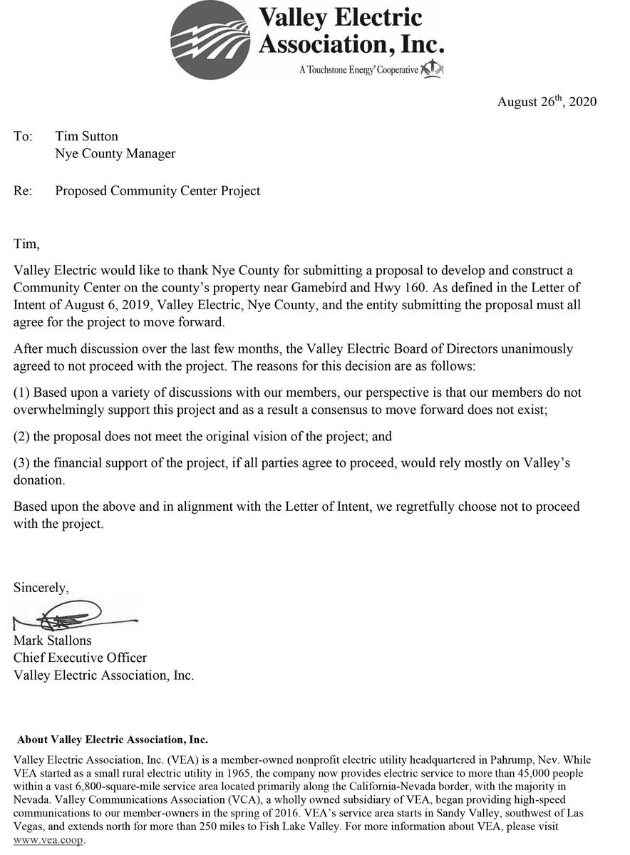 Special to the Pahrump Valley Times The letter from Valley Electric notifying Nye County that i ...