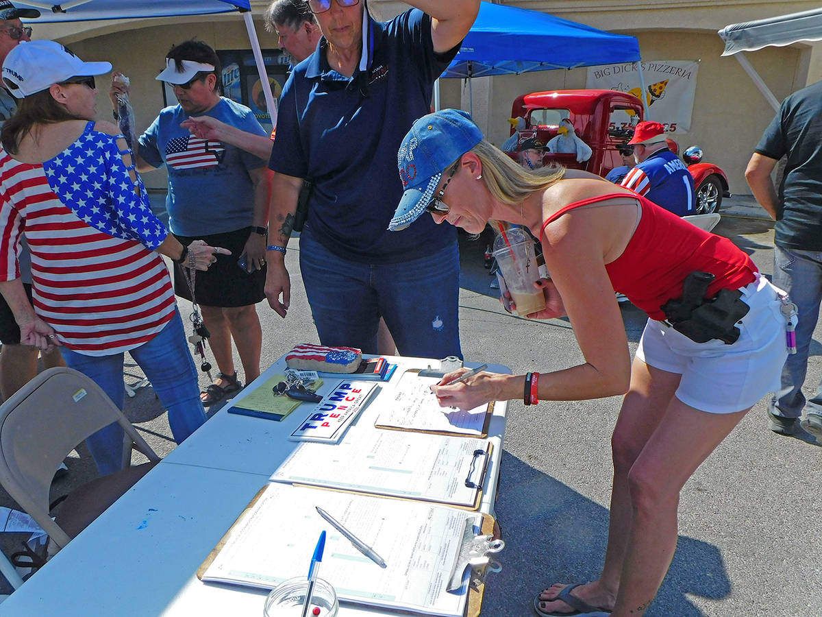 Robin Hebrock/Pahrump Valley Times Those interested in lending a hand with the re-election camp ...