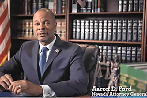 Nevada Attorney General Aaron Ford (Screenshot/Nevada Attorney General's Office) In Nevada, sui ...