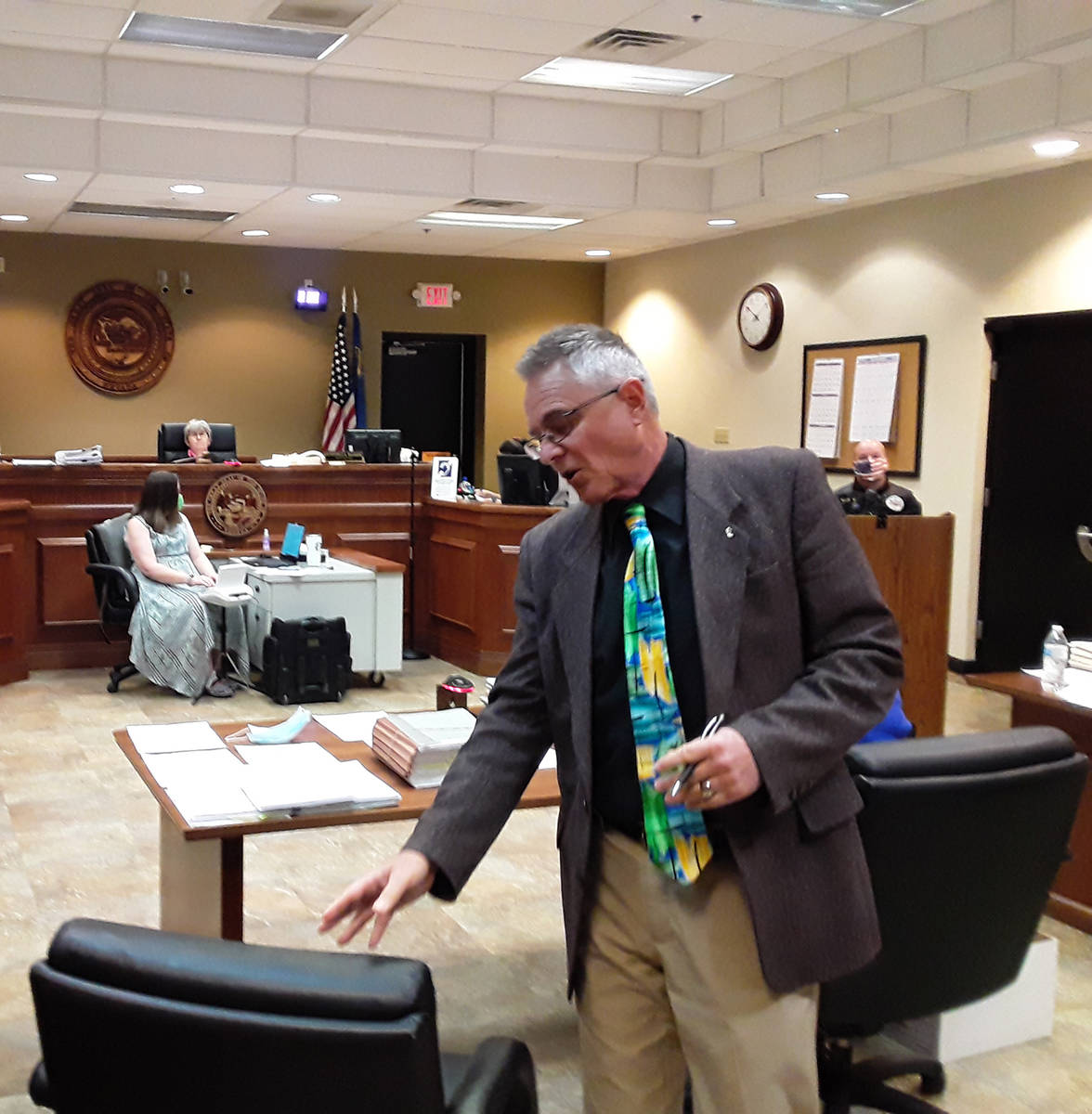 Selwyn Harris/Pahrump Valley Times The Nye County Chief Deputy District Attorney argues why he ...