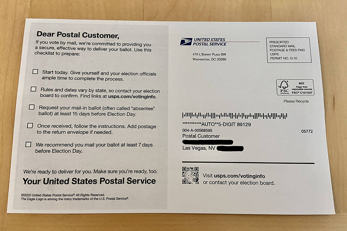 The USPS has mailed voters a postcard with information on how to vote by mail, including how so ...