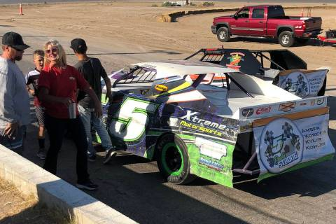 Tom Rysinski/Pahrump Valley Times Car No. 5 bears the Dusty Strong logo honoring Dusty Park alo ...