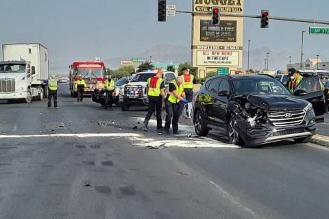 Selwyn Harris/Pahrump Valley Times Southbound traffic along Highway 160 was diverted onto Highw ...