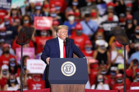 President Donald Trump speaks during a rally at Xtreme Manufacturing on Sunday, Sept. 13, 2020, ...