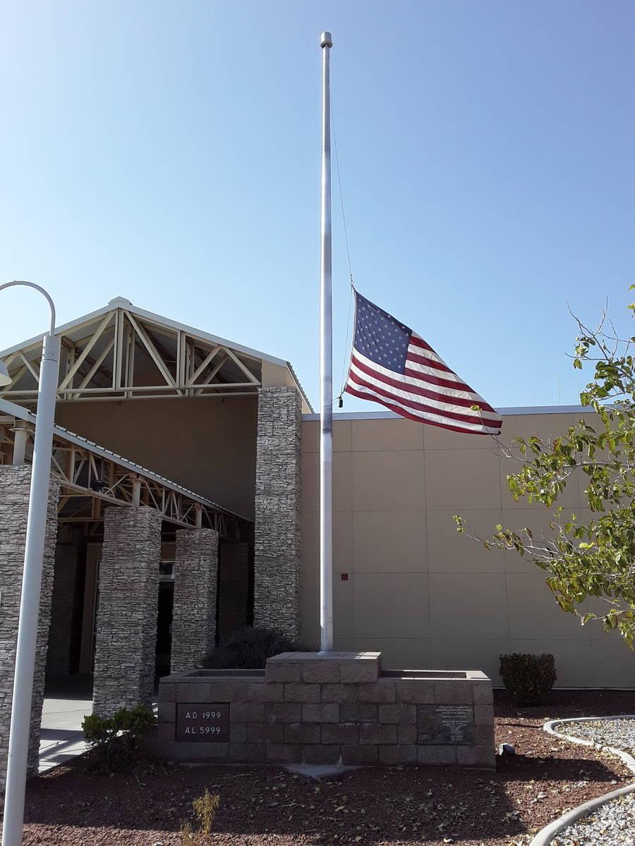 Selwyn Harris/Pahrump Valley Times An American flag flies half-staff at the Pahrump Community ...