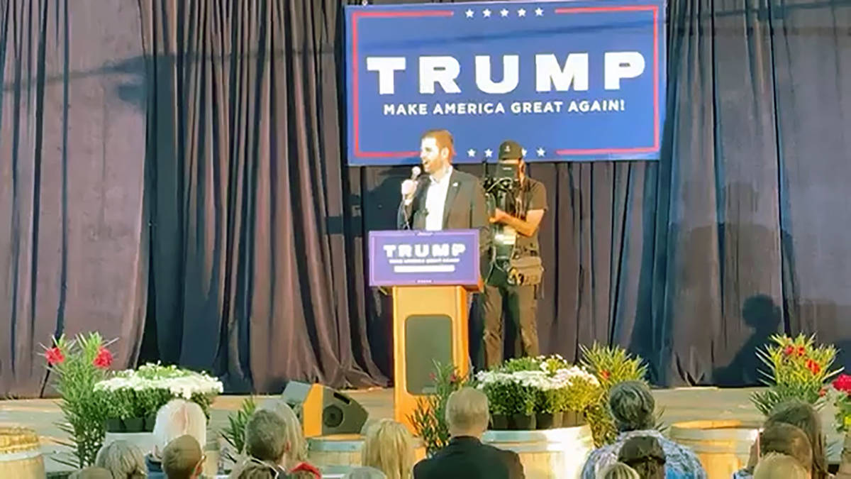 Jeffrey Meehan/Pahrump Valley Times Crowd watches Eric Trump during a MAGA event at the Pahrum ...