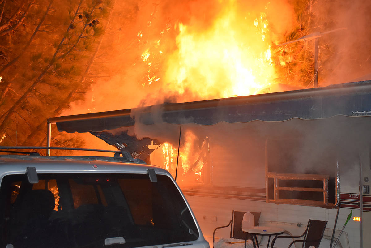 Special to the Pahrump Valley Times What originally was dispatched as a vehicle fire was upgrad ...