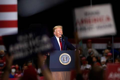 Ellen Schmidt/Las Vegas Review-Journal President Donald Trump speaks during a campaign rally at ...