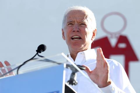 Erik Verduzco/Las Vegas Review-Journal Joe Biden rallies the crowd during a Nevada State Democr ...