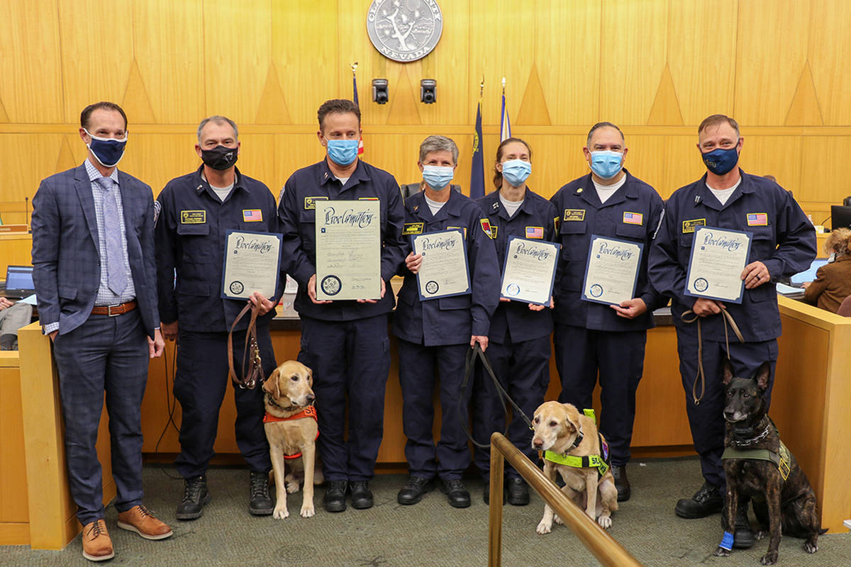 Special to the Pahrump Valley Times Members of the Nevada Task Force 1 team were honored Tuesda ...
