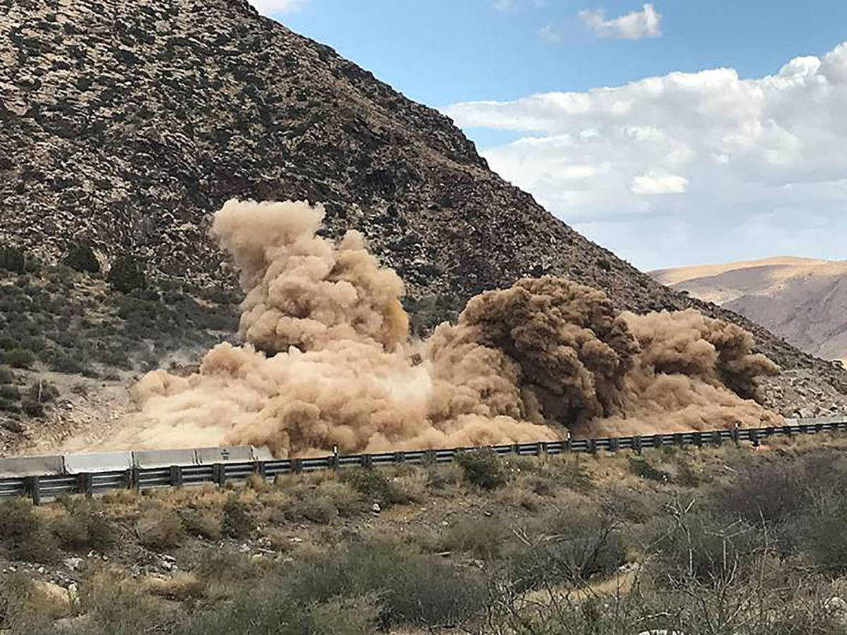 Nevada Department of Transportation An example of construction blasting as shown in a photo tak ...