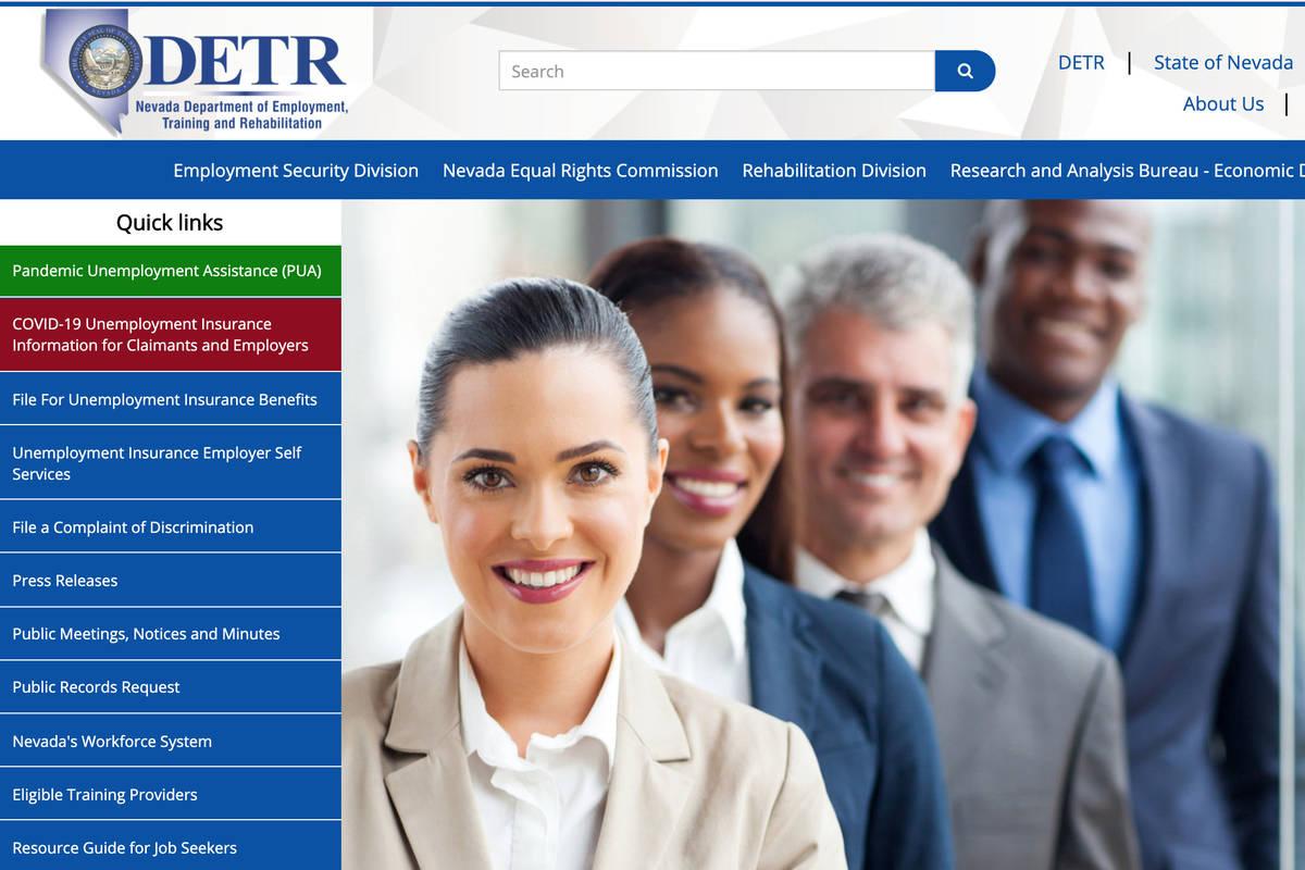 A screenshot of Nevada Department of Employment, Training and Rehabilitation's website. (DETR) ...