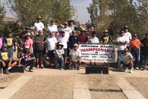 Tom Rysinski/Pahrump Valley Times Participants in the Nevada State Horseshoe Pitchers Associati ...