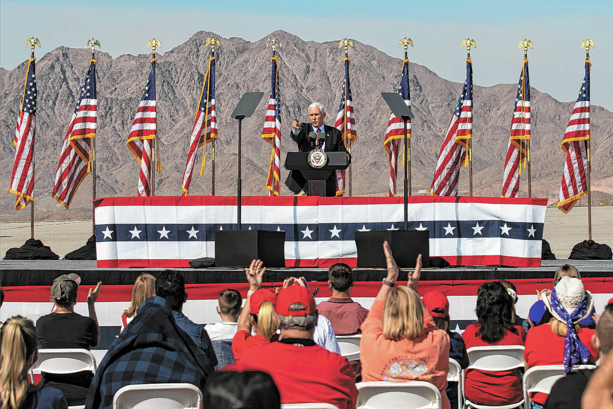 Bizuayehu Tesfaye/Las Vegas Review-Journal Vice President Mike Pence speaks during Make America ...