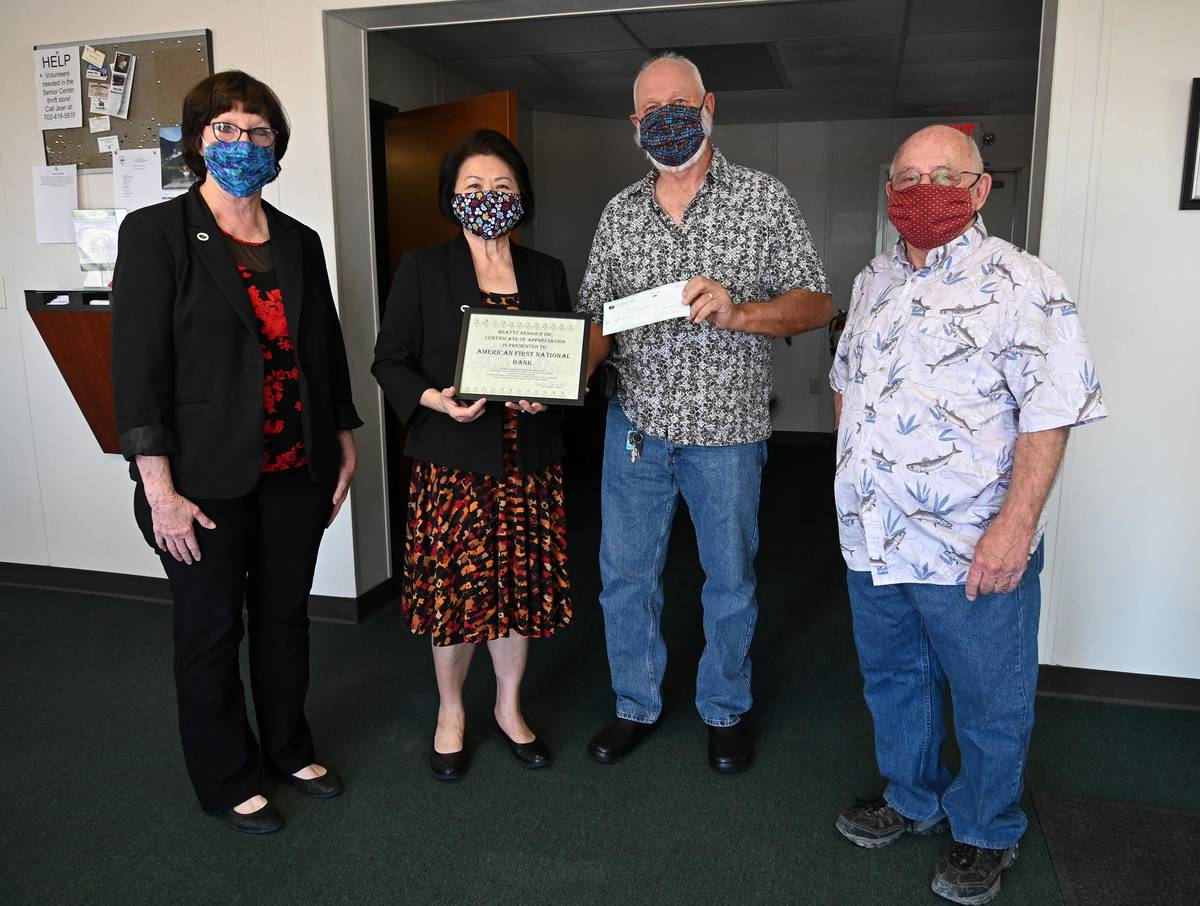 Richard Stephens/Special to the Pahrump Valley Times Beatty Seniors, Inc. has received a $2,000 ...
