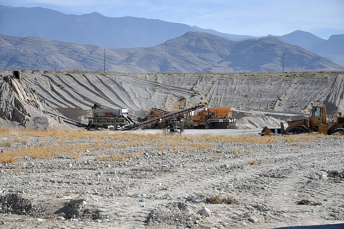 Horace Langford Jr./Pahrump Valley Times A view of the Gamebird Pit, a sand and gravel mine op ...