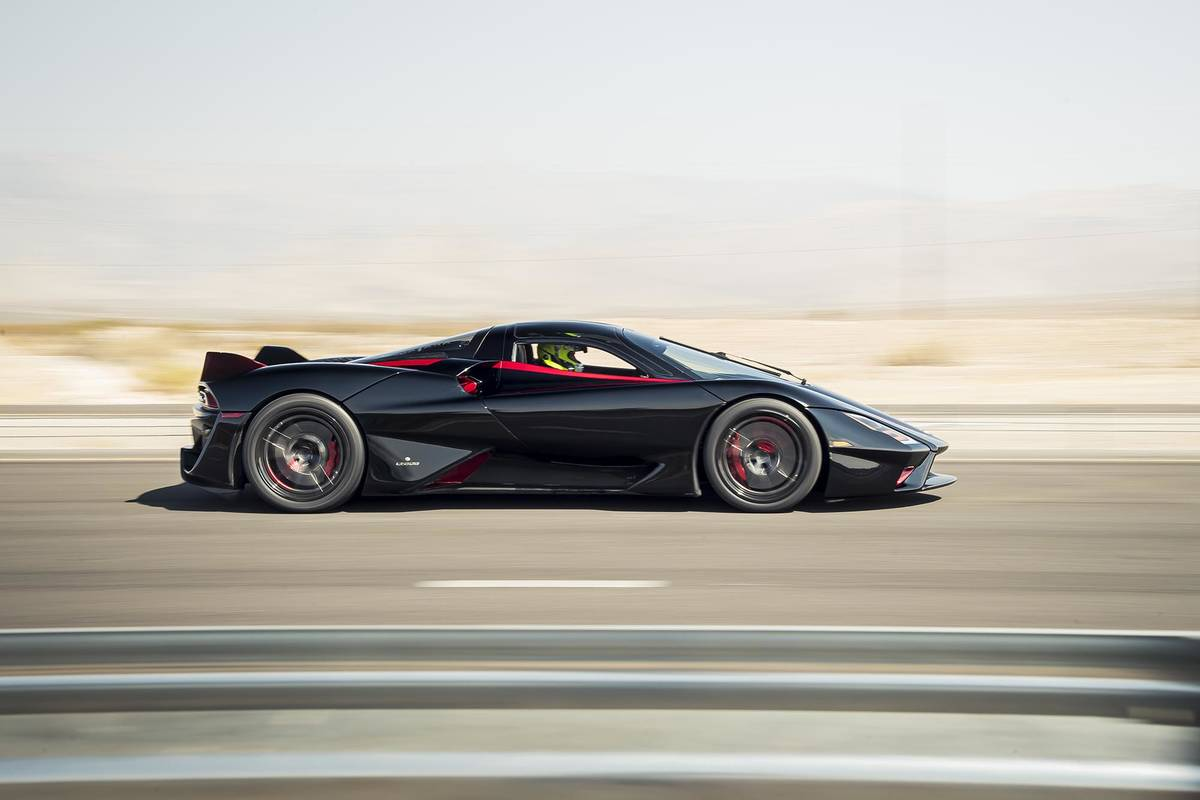 James Lipman/Special to the Pahrump Valley Times The 1,750-horsepower SSC Tuatara rocketed off ...