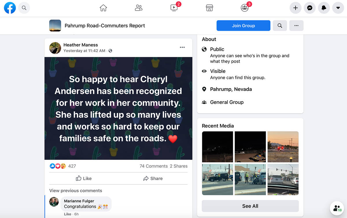 Screenshot This screenshot shows the Pahrump Road-Commuters Report Facebook page, with a post a ...