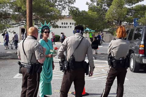 Selwyn Harris/Pahrump Valley Times Dressed as Lady Liberty, local resident Pamela Morgan speaks ...