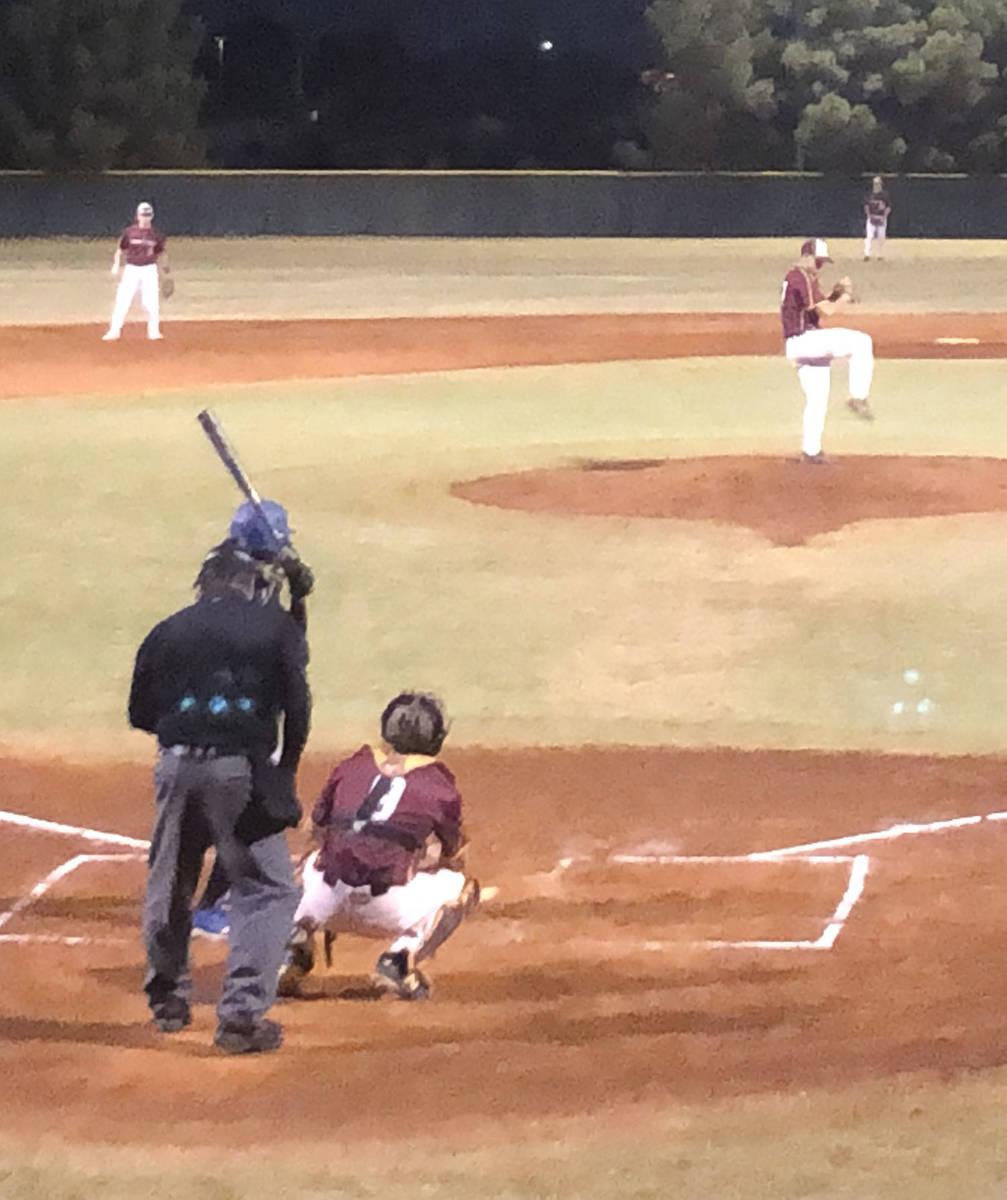 Tom Rysinski/Pahrump Valley Times Pahrump Gold pitcher Jalen Denton delivers to catcher Coby Ti ...
