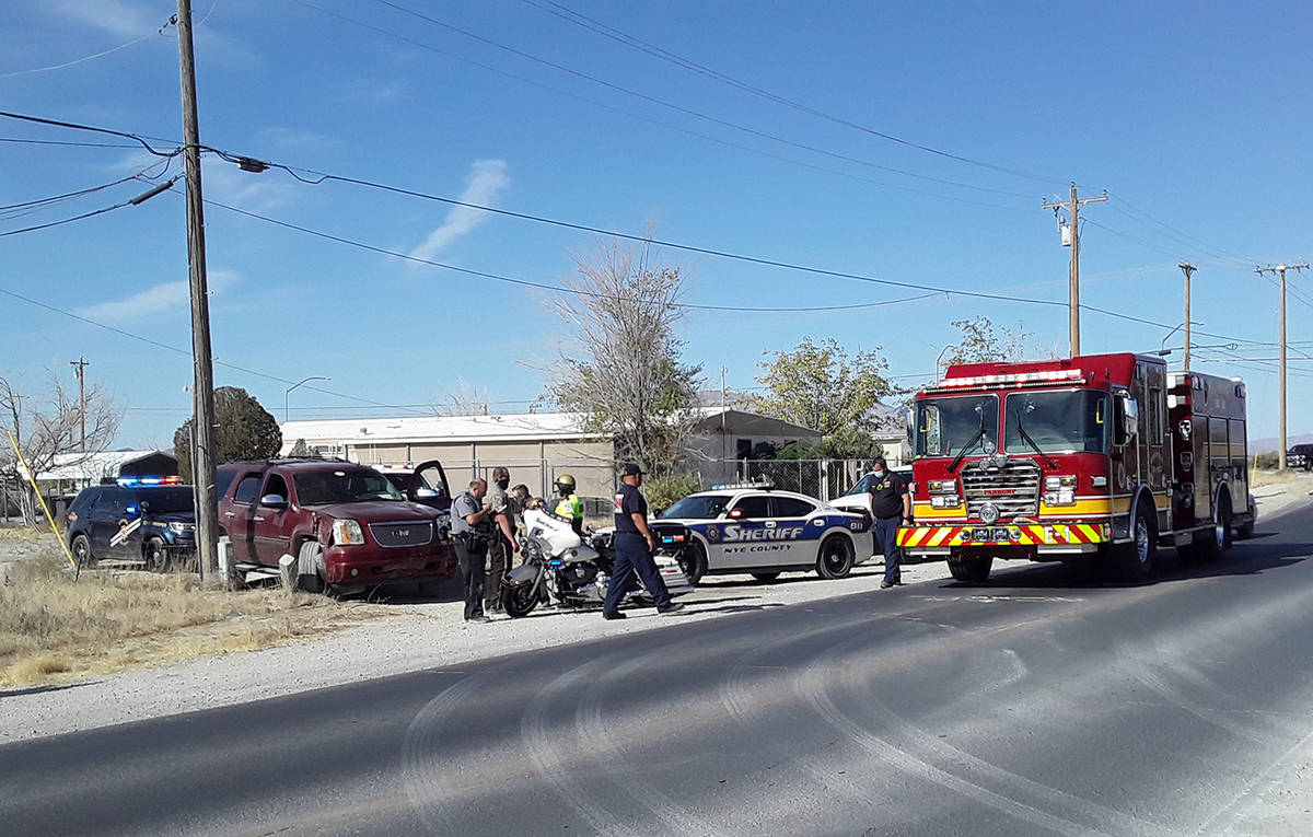 Selwyn Harris/Pahrump Valley Times A 15 year-old boy was arrested and transported to Desert Vie ...