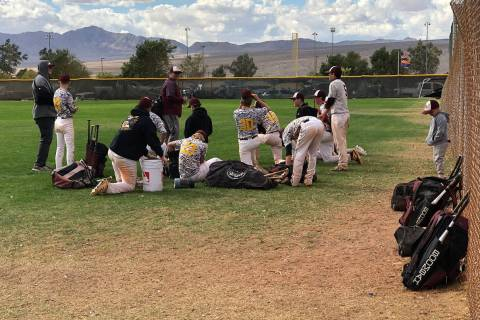 Tom Rysinski/Pahrump Valley Times Pahrump baseball coach Brian Hayes talks to his players at th ...
