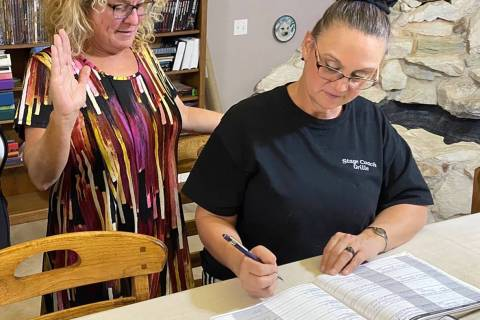 Special to the Pahrump Valley Times Nye County volunteer Janet Rogers and notary Tina Bond-Kugl ...