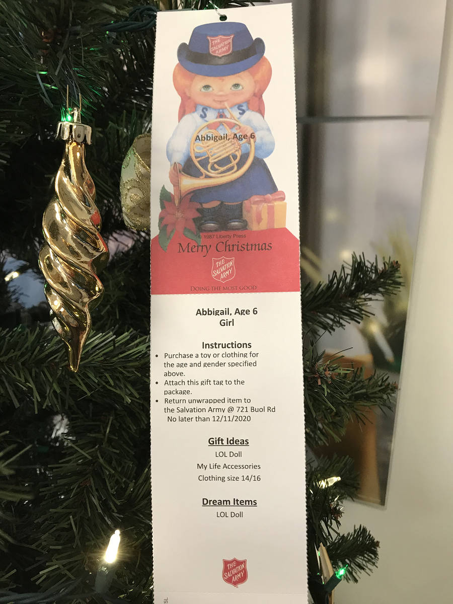 Special to the Pahrump Valley Times This Angel Tree angel, hung inside the local Bank of Americ ...