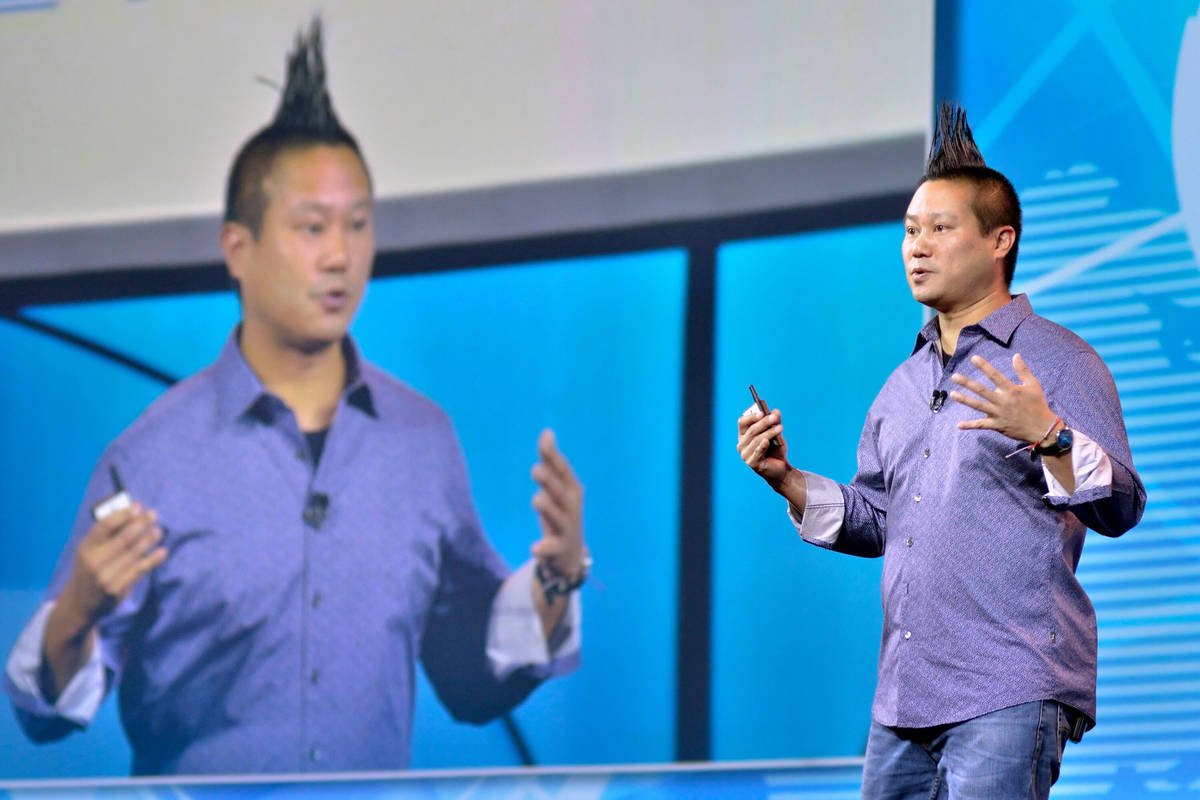 In this June 15, 2018, file photo, Zappos CEO Tony Hsieh speaks at the Travel Leaders Network 2 ...