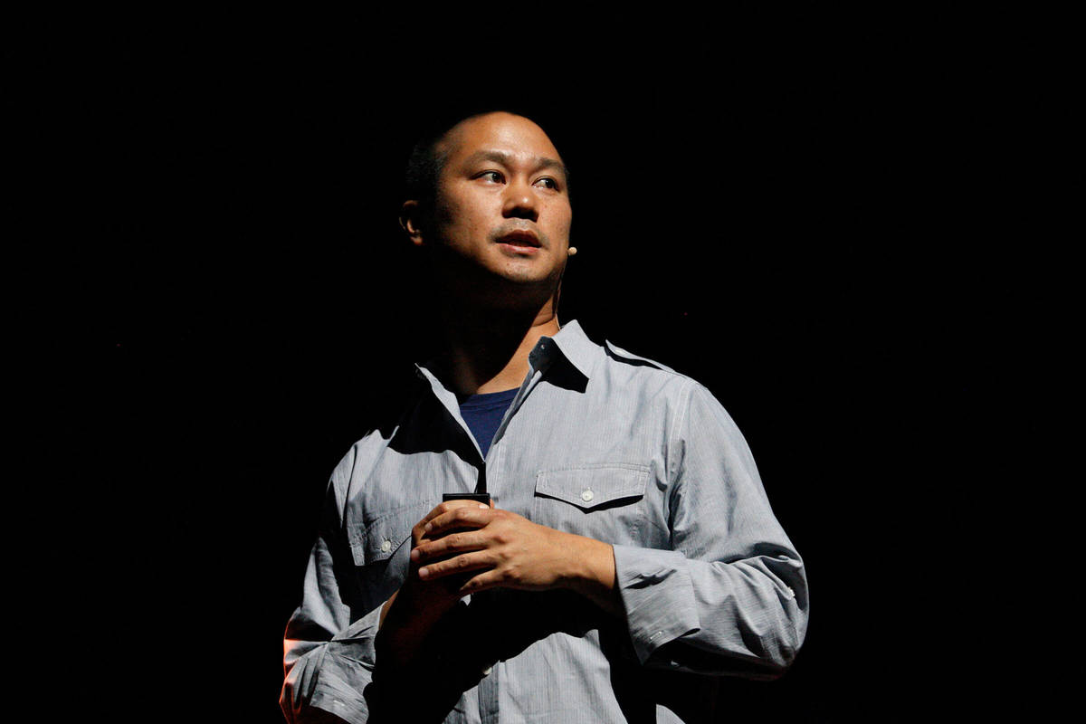 Zappos CEO Tony Hsieh speaks at the company's All Hands employee event at the Smith Center for ...