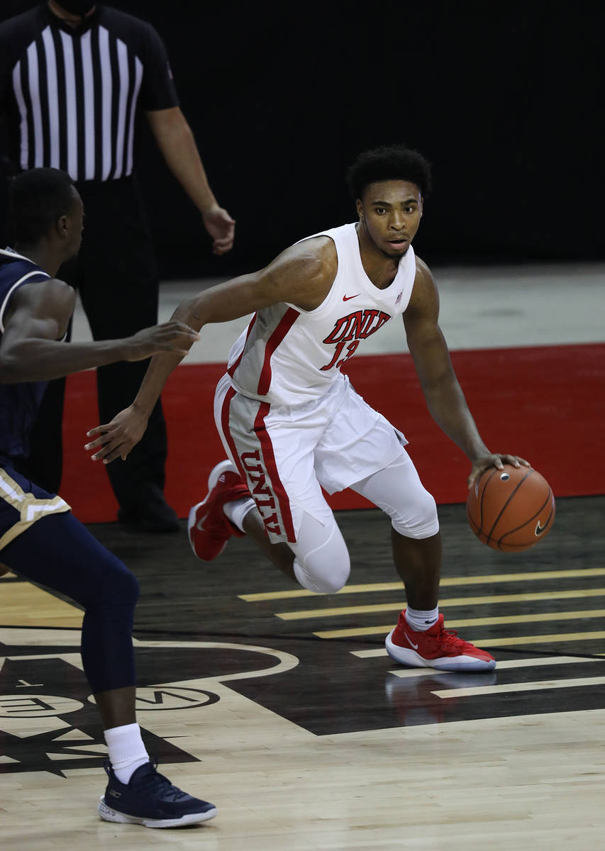 Elizabeth Page Brumley/Special to the Pahrump Valley Times UNLV guard Bryce Hamilton dribbles a ...