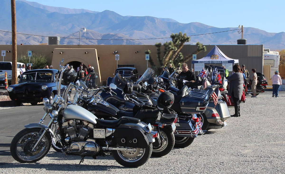 Special to the Pahrump Valley Times Bikes are shown lined up at the VFW Post #10054 in Pahrump ...