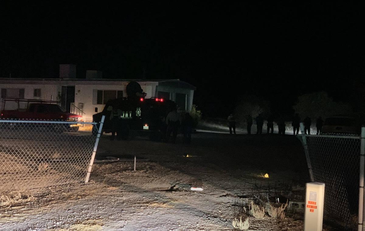 NCSO/Screenshot A screenshot of the Nye County Sheriff's Office app on the shooting on Kings Wa ...