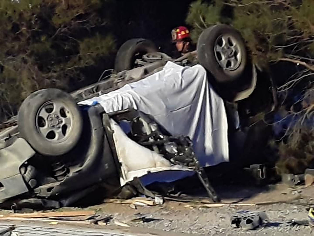 Selwyn Harris/Pahrump Valley Times A driver suffered fatal injuries after losing control and ro ...