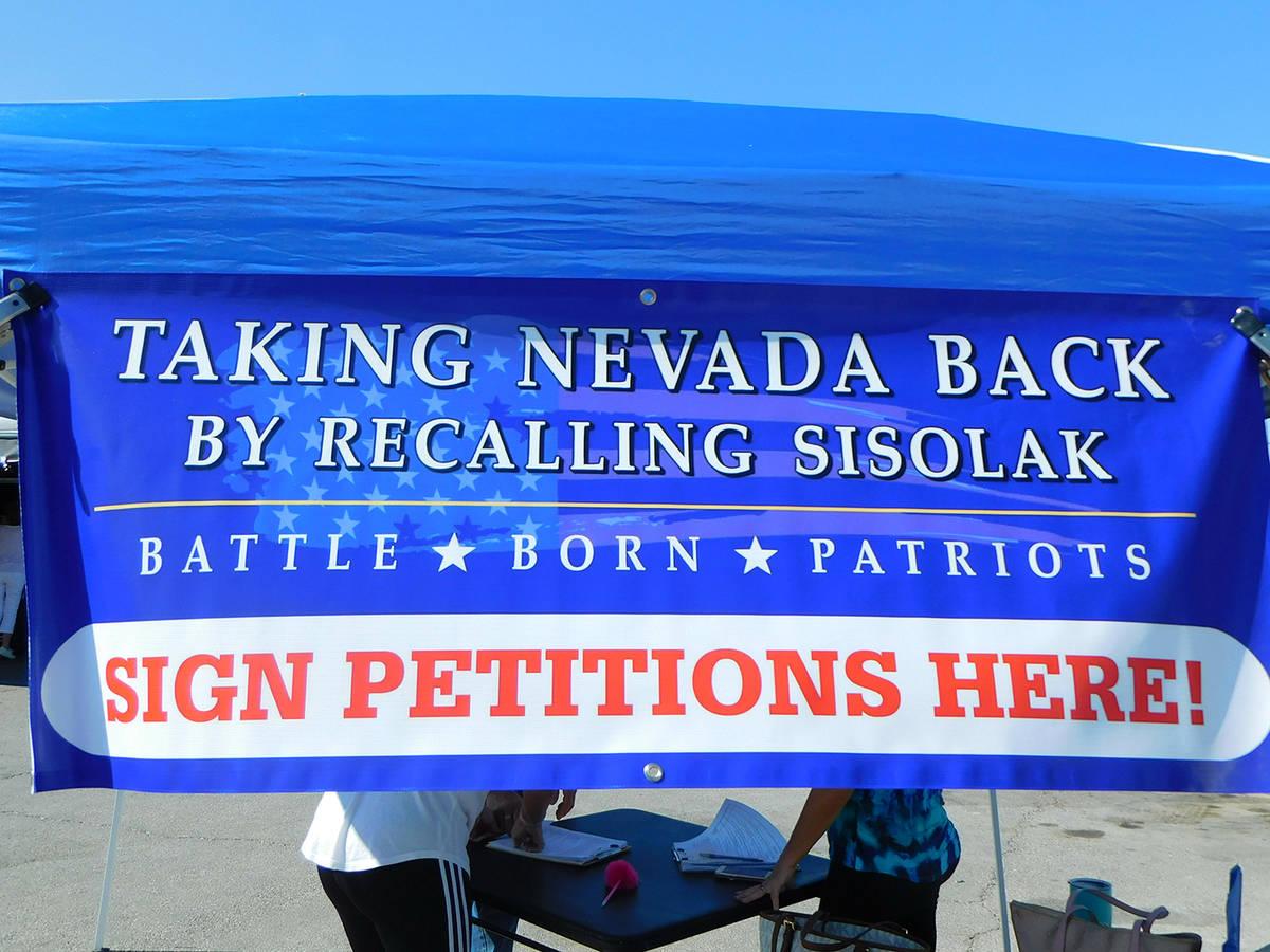 Robin Hebrock/Pahrump Valley Times Battle Born Patriots' attempt to recall Nevada Gov. Steve Si ...