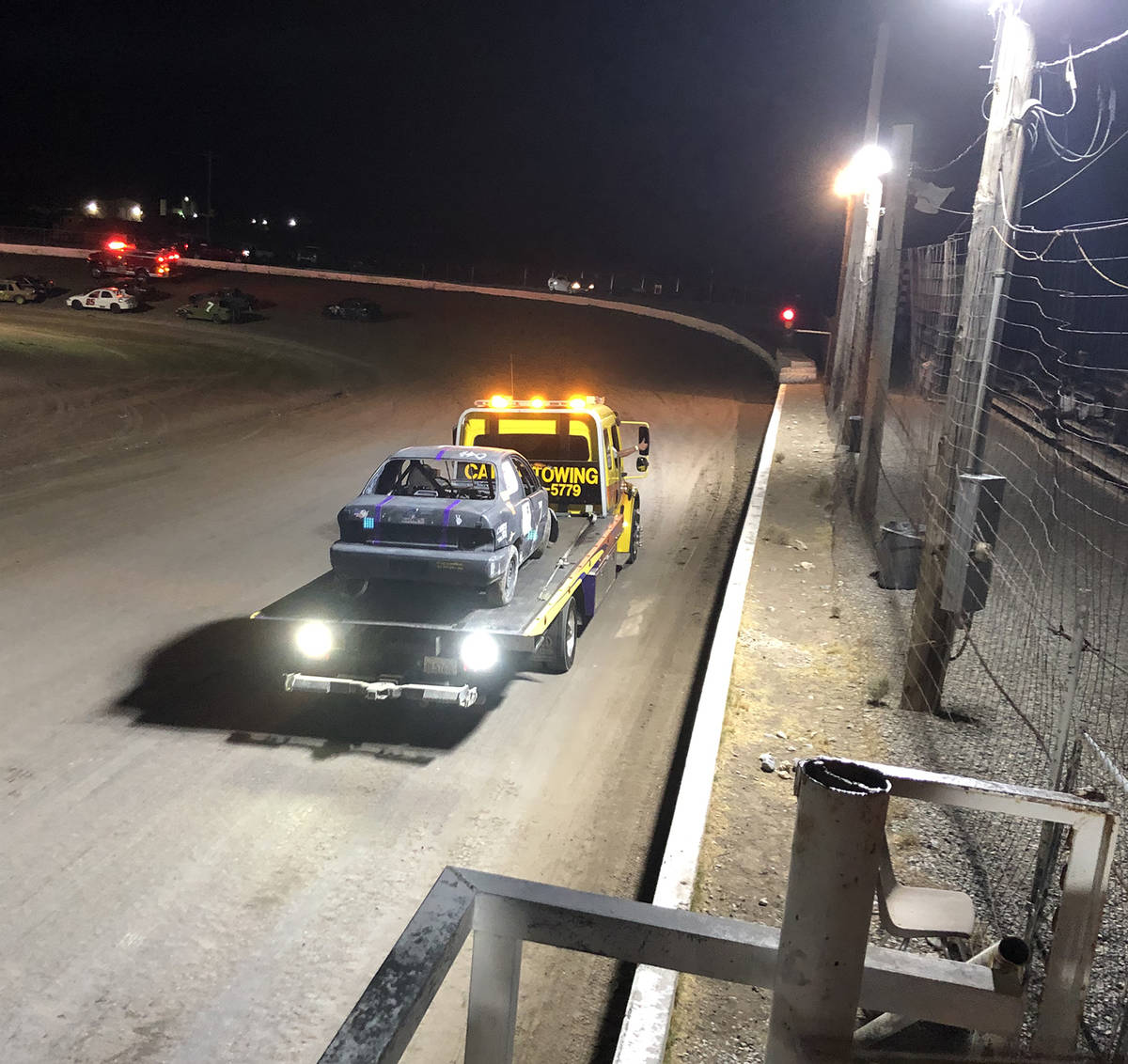 Tom Rysinski/Pahrump Valley Times Tanner Reynolds' No. 7 car gets a ride off the track during t ...