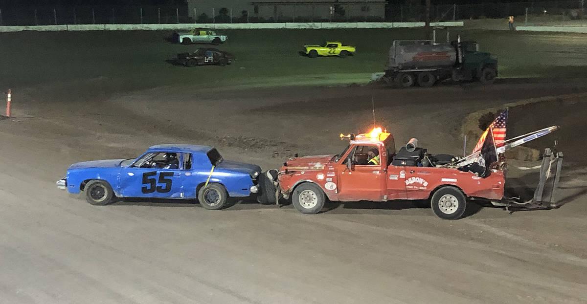 Tom Rysinski/Pahrump Valley Times Veronica Walthall's No. 55 car gets a push off of the track d ...