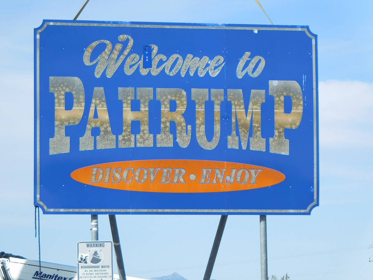 """Robin Hebrock/Pahrump Valley Times The old """"Welcome to Pahrump"""" signs were in poor shape and to ..."""