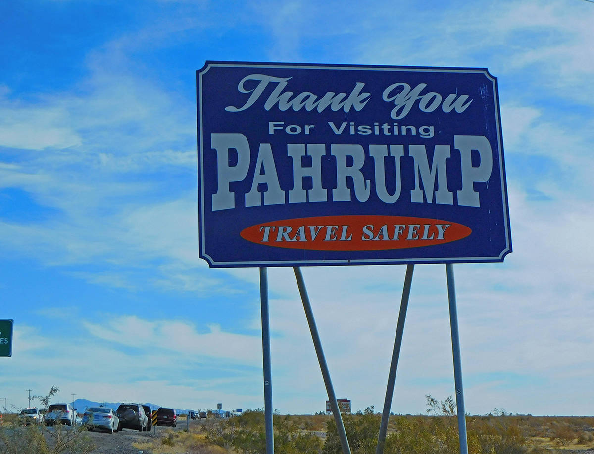 """Robin Hebrock/Pahrump Valley Times The old """"Thank You For Visiting"""" signs at the town of Pahrum ..."""
