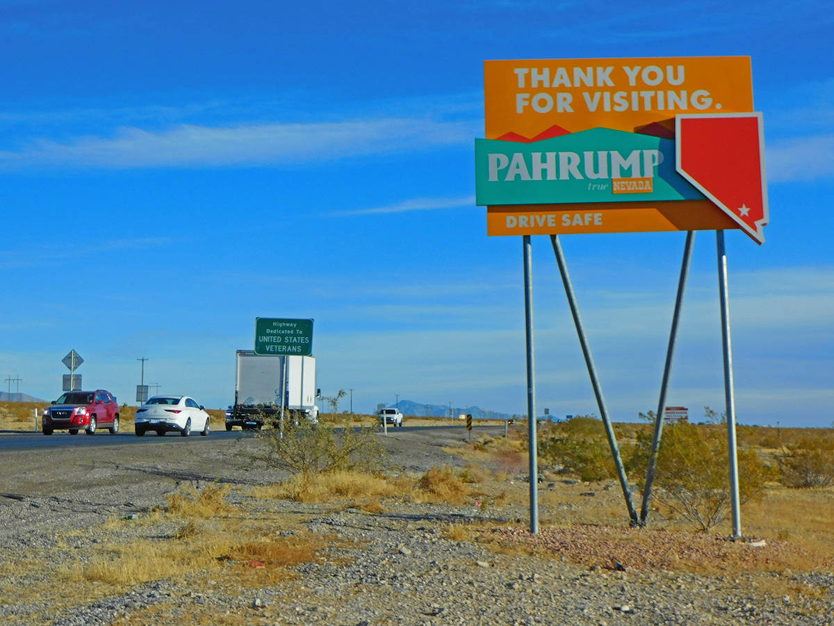 """Robin Hebrock/Pahrump Valley Times New """"Thank You For Visiting"""" signs are now in place on Highw ..."""