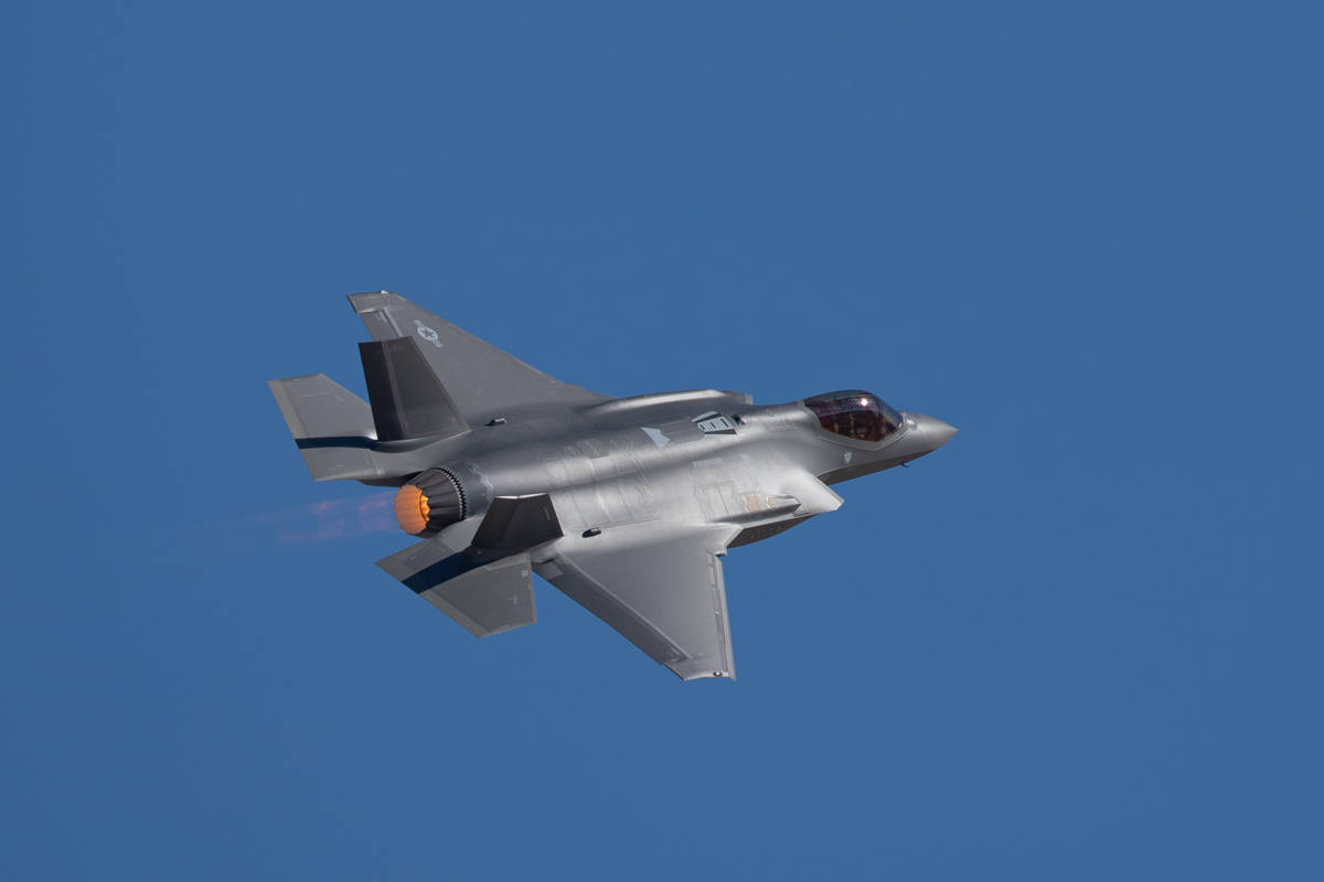 Getty Images The F-35 Lightning II is pictured with its afterburner on.