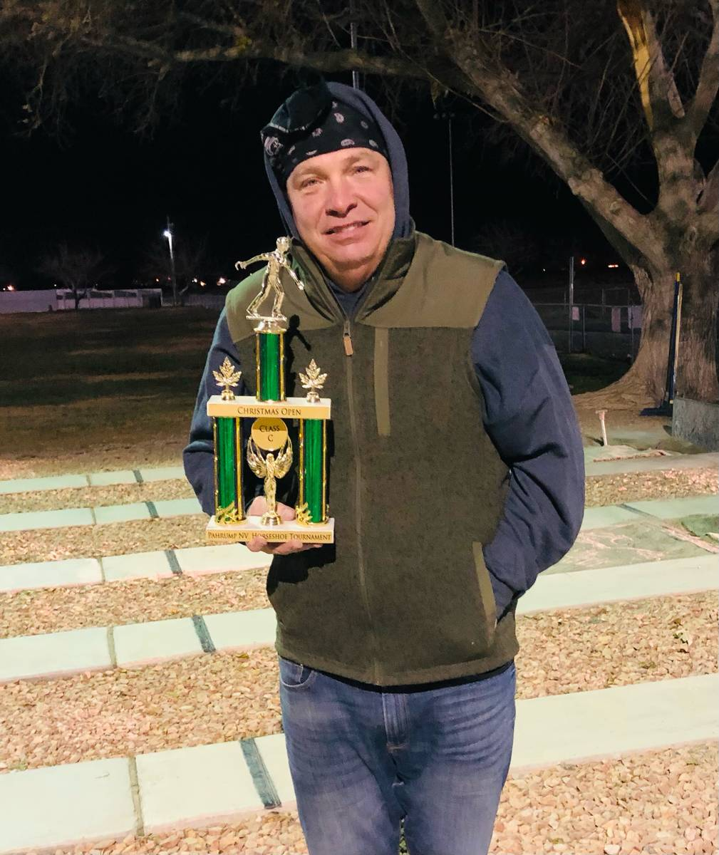 Lathan Dilger/Special to the Pahrump Valley Times Gary Dilger with his trophy for winning the C ...