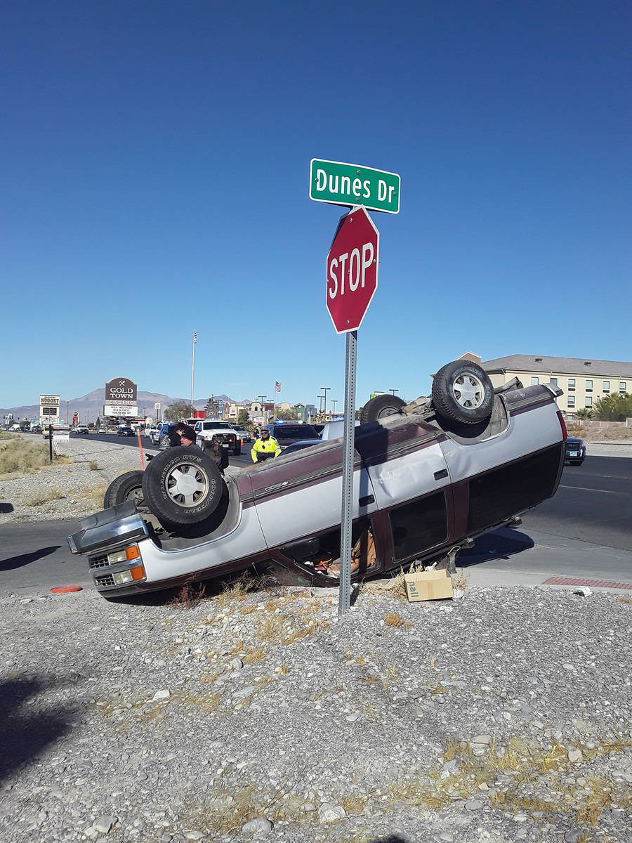 Selwyn Harris/Pahrump Valley Times One person was transported to Desert View Hospital followin ...