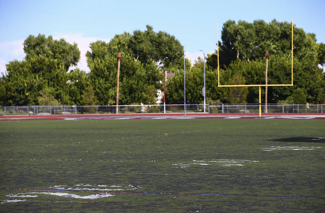File photo A view of the deteriorating turf at the football field at Valley High School in Las ...