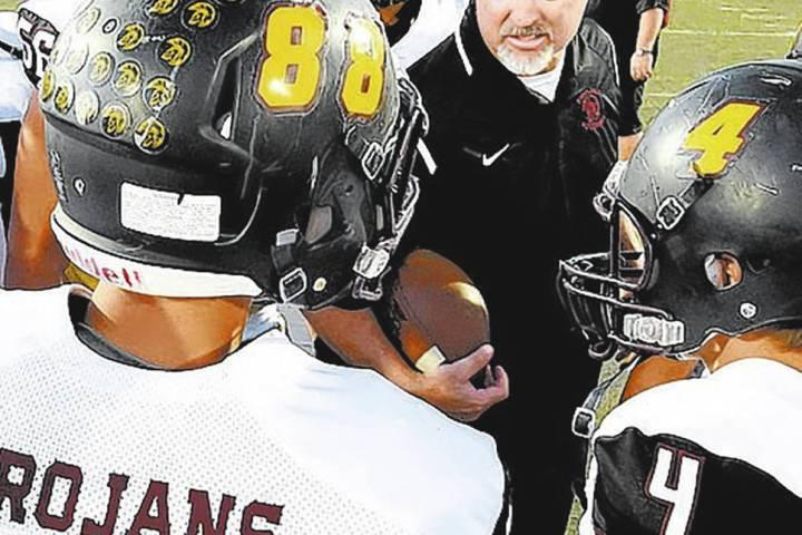 Peter Davis/Pahrump Valley Times file Pahrump Valley High School football coach Joe Clayton is ...