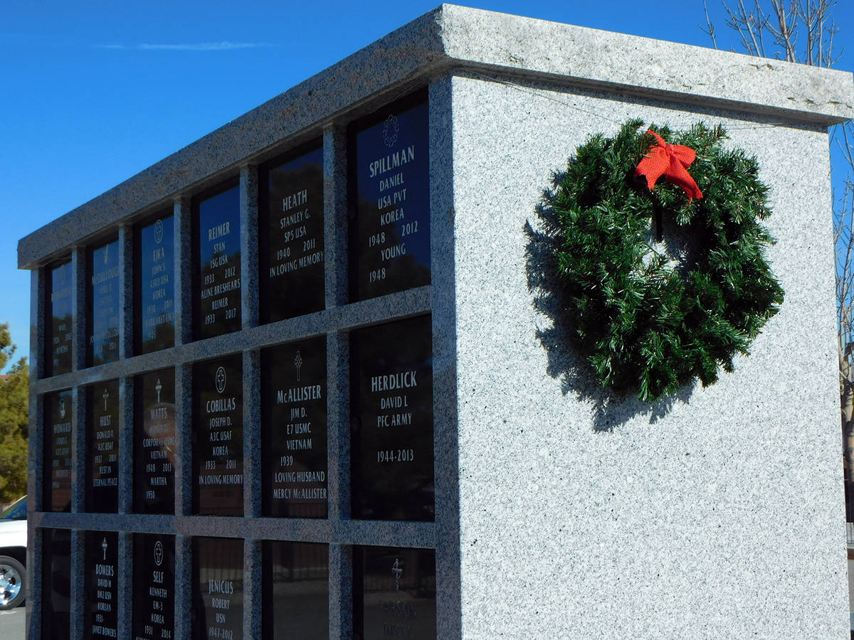 Robin Hebrock/Pahrump Valley Times The columbarium at the Chief Tecopa Cemetery was given a bit ...