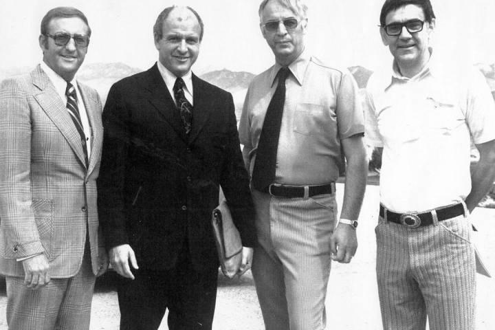 Courtesy Pahrump Valley Times founder Milton (Milt) Bozanic, on right, at the September 1974 o ...